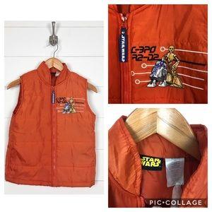 ~ Star Wars ~ C3P0/R2D2 Orange Puffer Vest
